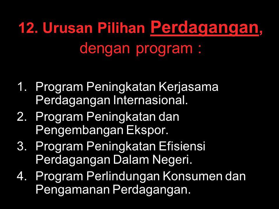 12. Urusan Pilihan Perdagangan, dengan program :