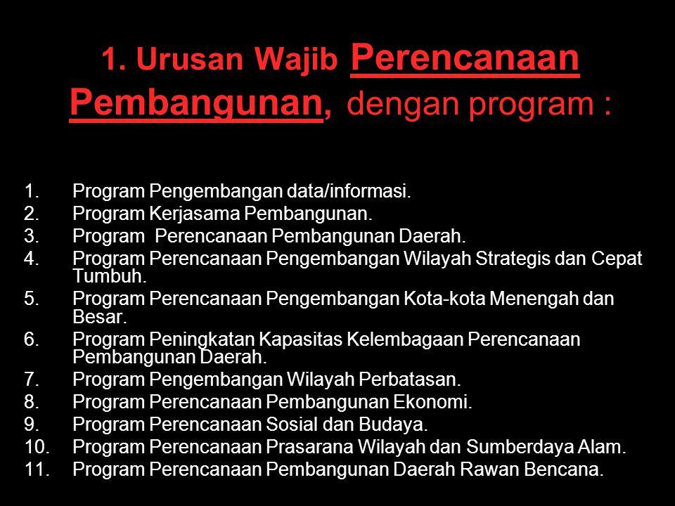 1. Urusan Wajib Perencanaan Pembangunan, dengan program :