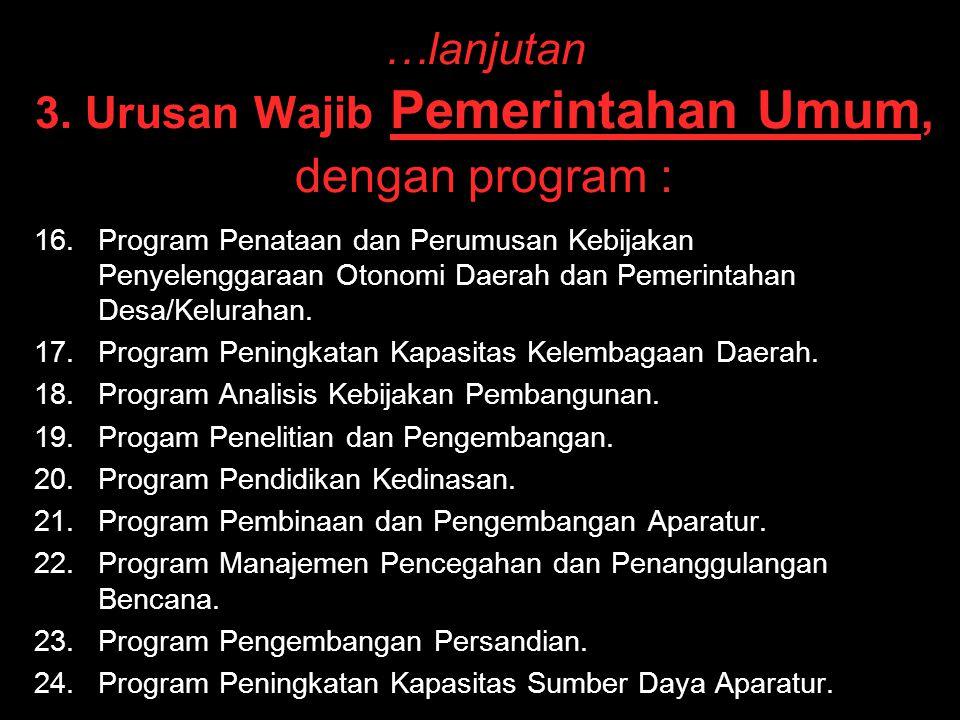 …lanjutan 3. Urusan Wajib Pemerintahan Umum, dengan program :