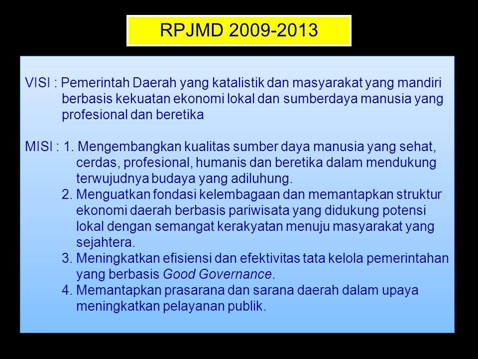 RPJMD 2009-2013 VISI : Pemerintah Daerah yang katalistik dan masyarakat yang mandiri. berbasis kekuatan ekonomi lokal dan sumberdaya manusia yang.