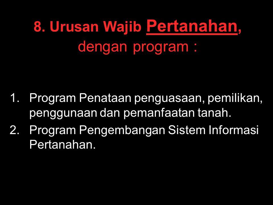8. Urusan Wajib Pertanahan, dengan program :