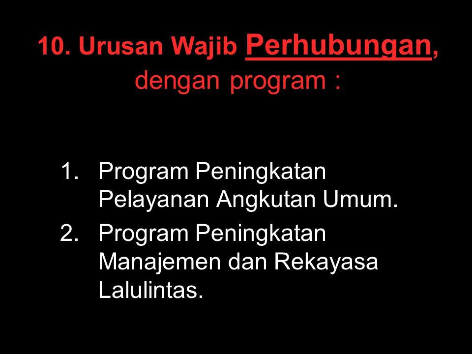 10. Urusan Wajib Perhubungan, dengan program :