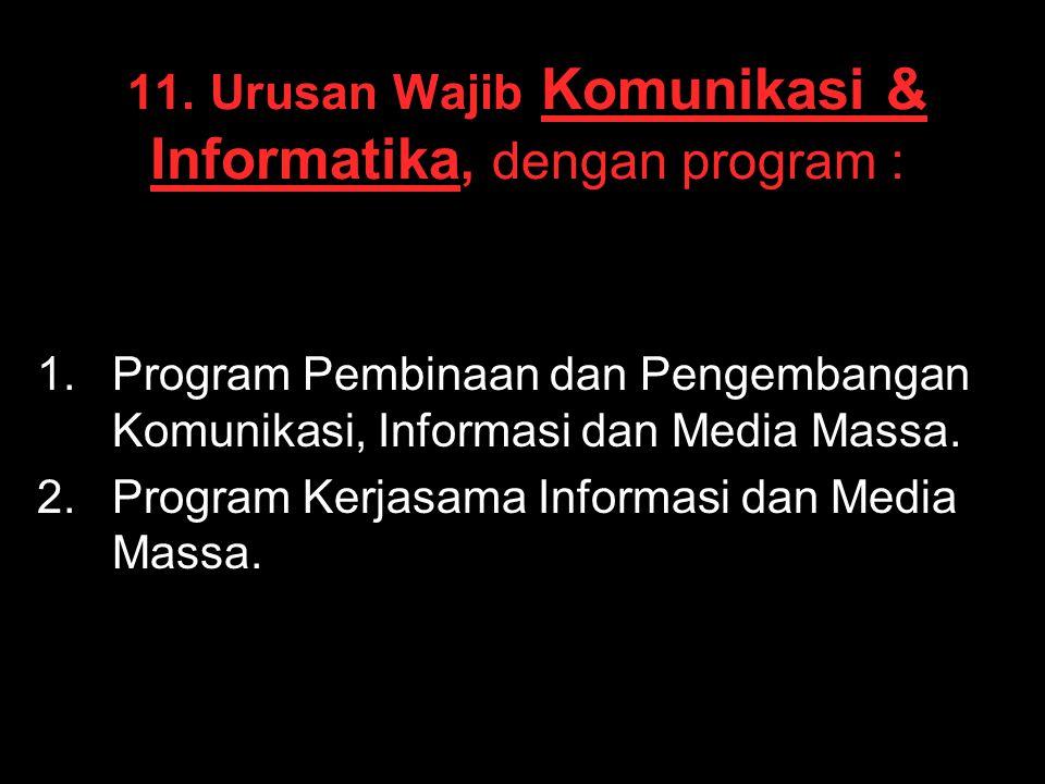 11. Urusan Wajib Komunikasi & Informatika, dengan program :