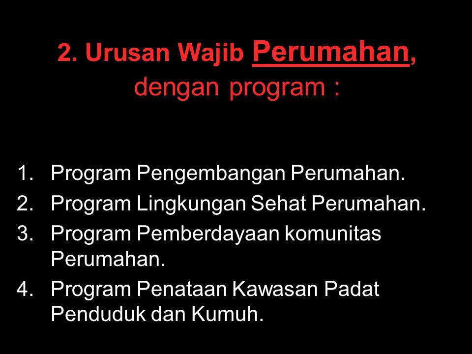 2. Urusan Wajib Perumahan, dengan program :