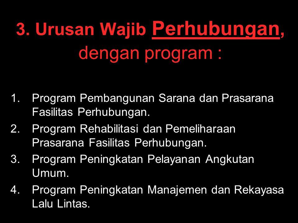 3. Urusan Wajib Perhubungan, dengan program :