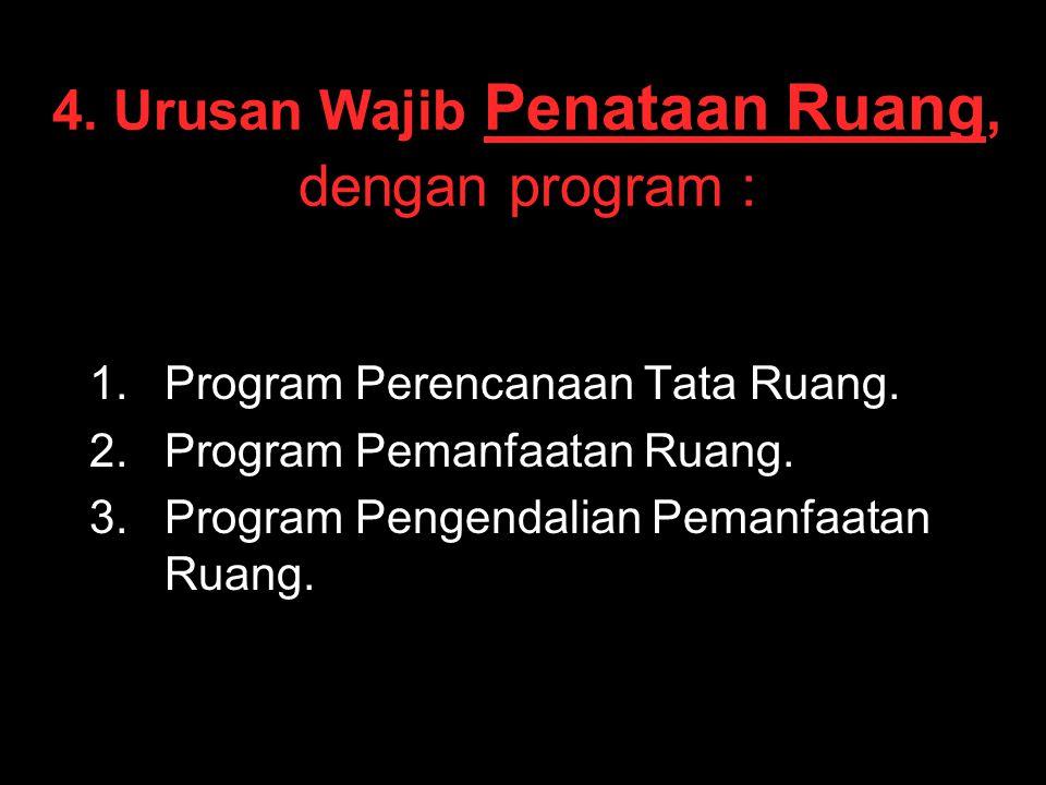 4. Urusan Wajib Penataan Ruang, dengan program :