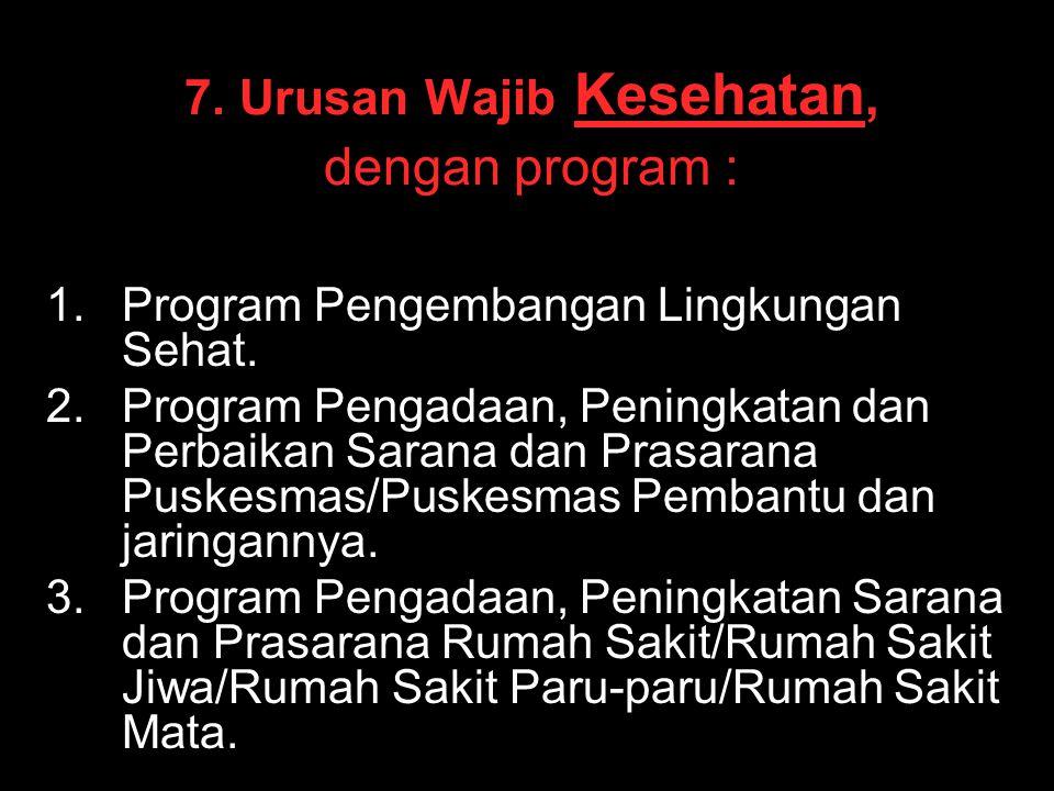 7. Urusan Wajib Kesehatan, dengan program :