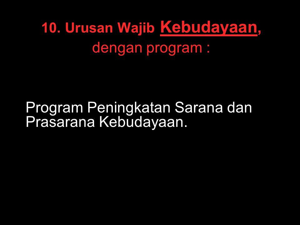 10. Urusan Wajib Kebudayaan, dengan program :