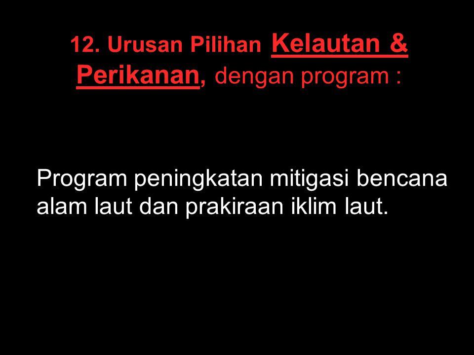12. Urusan Pilihan Kelautan & Perikanan, dengan program :