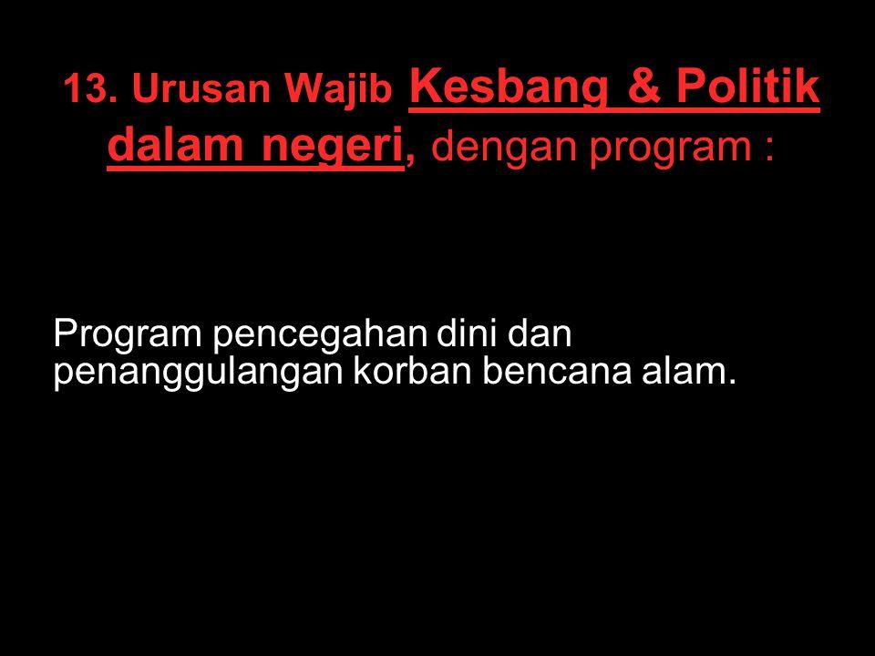 13. Urusan Wajib Kesbang & Politik dalam negeri, dengan program :