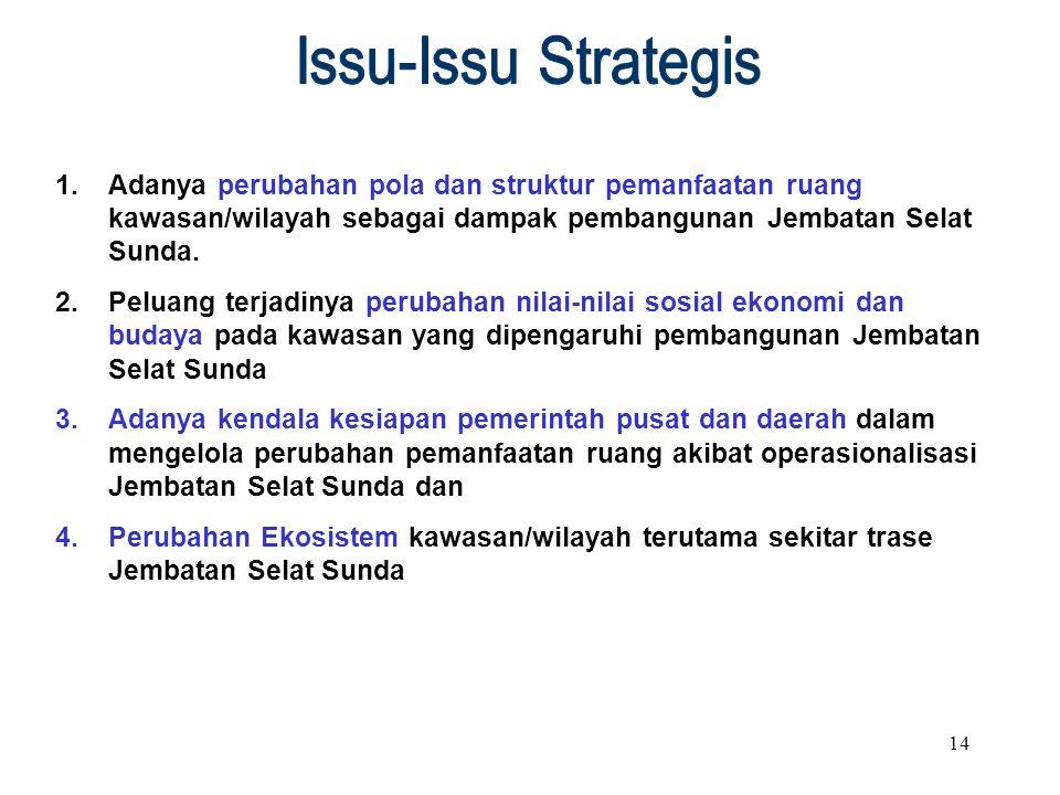 Issu-Issu Strategis Adanya perubahan pola dan struktur pemanfaatan ruang kawasan/wilayah sebagai dampak pembangunan Jembatan Selat Sunda.