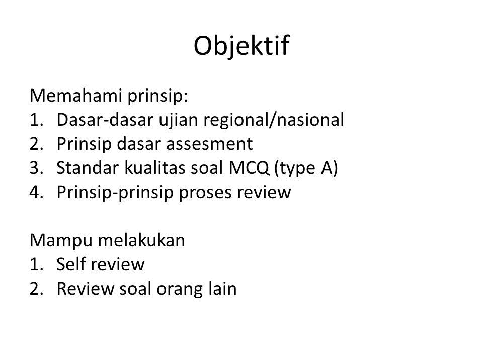 Objektif Memahami prinsip: Dasar-dasar ujian regional/nasional