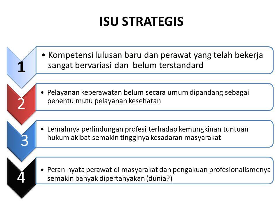 ISU STRATEGIS 1. Kompetensi lulusan baru dan perawat yang telah bekerja sangat bervariasi dan belum terstandard.