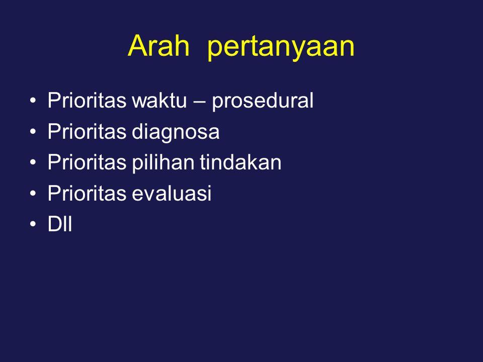Arah pertanyaan Prioritas waktu – prosedural Prioritas diagnosa