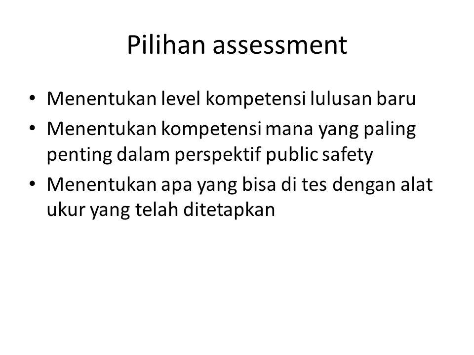 Pilihan assessment Menentukan level kompetensi lulusan baru
