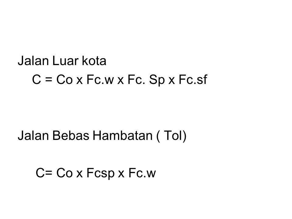Jalan Luar kota C = Co x Fc.w x Fc. Sp x Fc.sf Jalan Bebas Hambatan ( Tol) C= Co x Fcsp x Fc.w