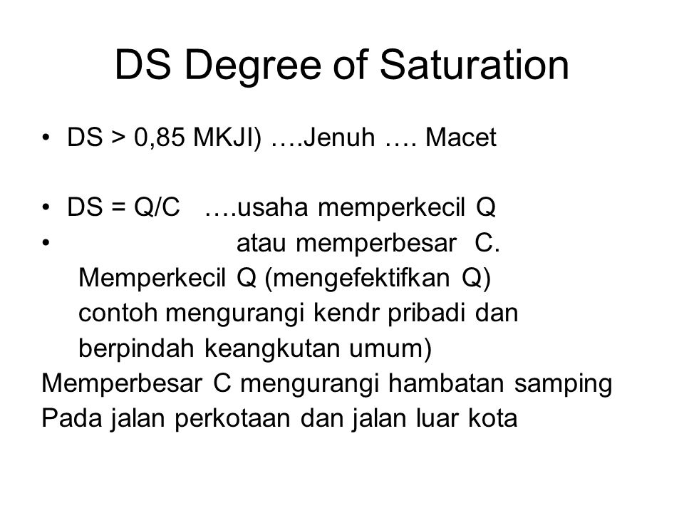 DS Degree of Saturation