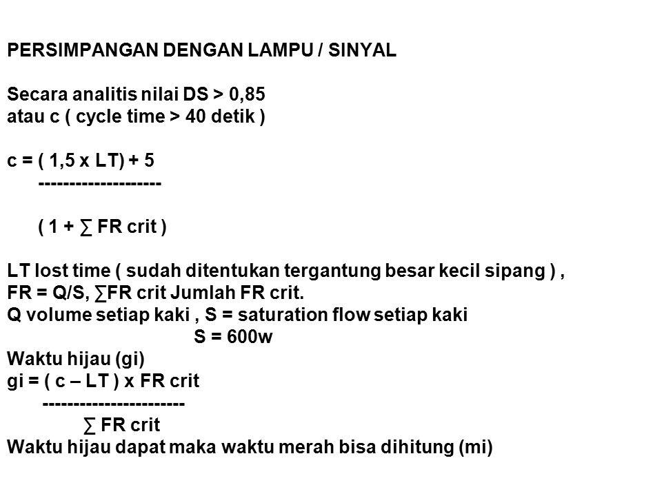 PERSIMPANGAN DENGAN LAMPU / SINYAL Secara analitis nilai DS > 0,85 atau c ( cycle time > 40 detik ) c = ( 1,5 x LT) + 5 -------------------- ( 1 + ∑ FR crit ) LT lost time ( sudah ditentukan tergantung besar kecil sipang ) , FR = Q/S, ∑FR crit Jumlah FR crit.