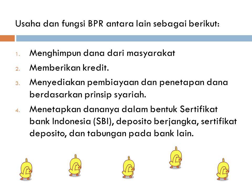 Usaha dan fungsi BPR antara lain sebagai berikut: