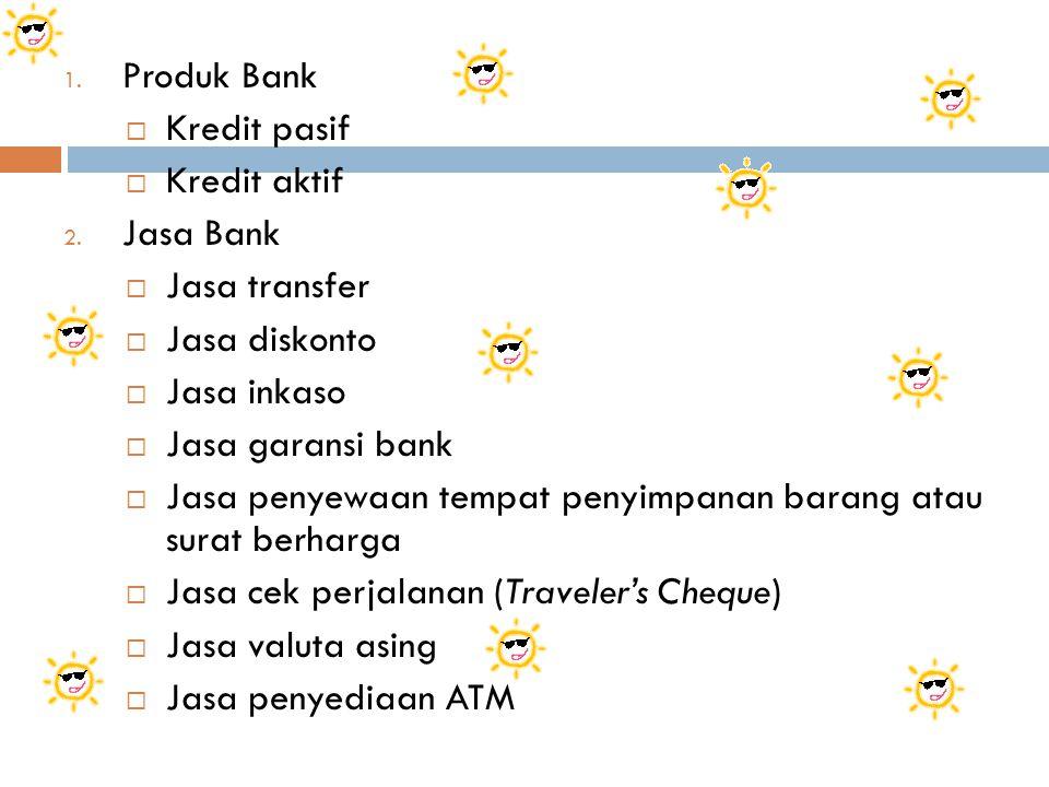 Produk Bank Kredit pasif. Kredit aktif. Jasa Bank. Jasa transfer. Jasa diskonto. Jasa inkaso. Jasa garansi bank.