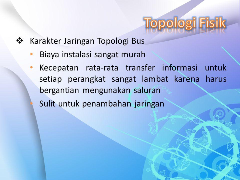 Topologi Fisik Karakter Jaringan Topologi Bus