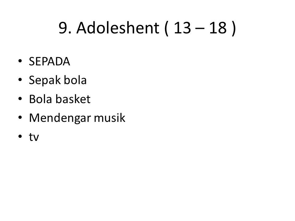 9. Adoleshent ( 13 – 18 ) SEPADA Sepak bola Bola basket
