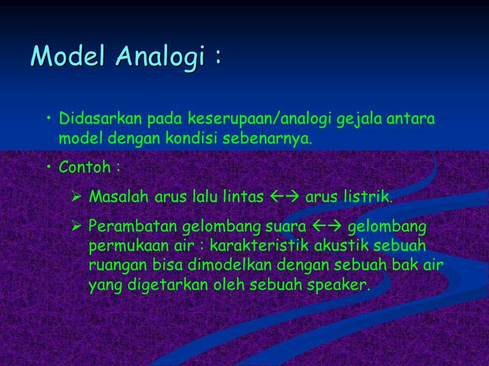 Model Analogi : Didasarkan pada keserupaan/analogi gejala antara model dengan kondisi sebenarnya. Contoh :