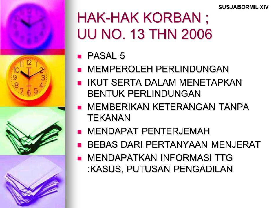 HAK-HAK KORBAN ; UU NO. 13 THN 2006
