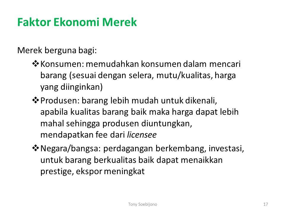 Faktor Ekonomi Merek Merek berguna bagi: