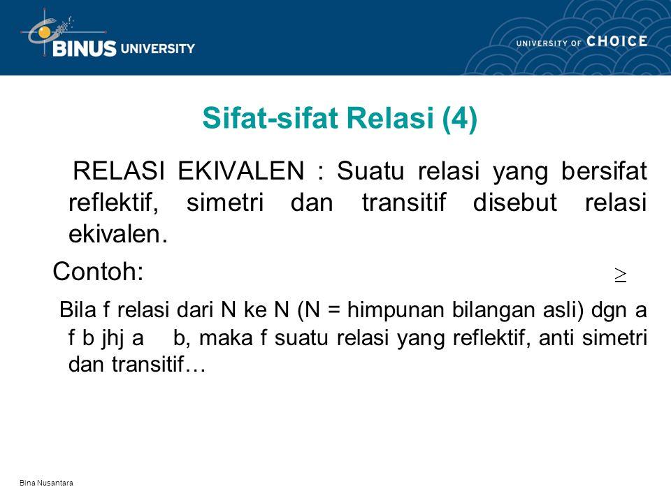 Sifat-sifat Relasi (4) RELASI EKIVALEN : Suatu relasi yang bersifat reflektif, simetri dan transitif disebut relasi ekivalen.
