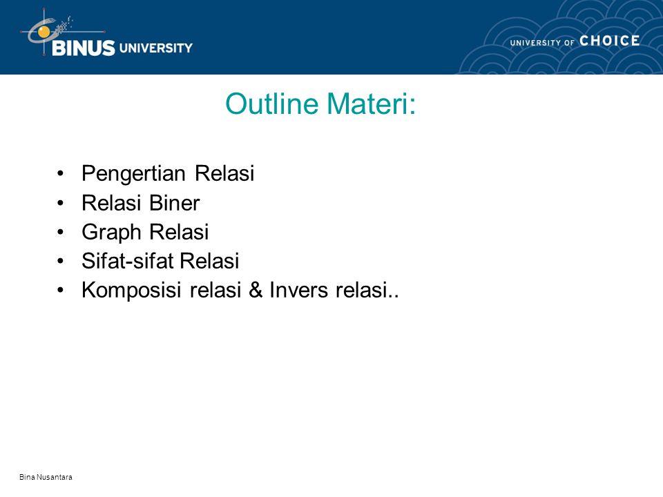 Outline Materi: Pengertian Relasi Relasi Biner Graph Relasi