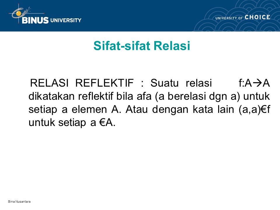 Sifat-sifat Relasi