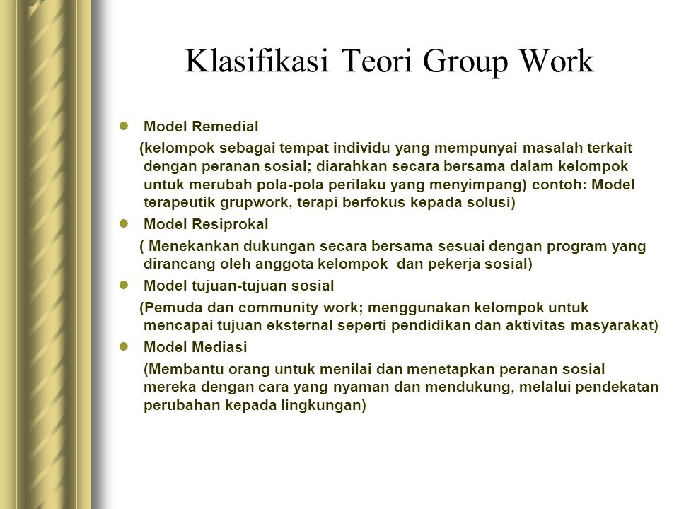 Klasifikasi Teori Group Work