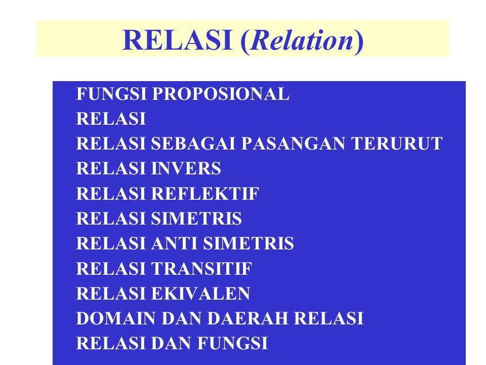 RELASI (Relation) FUNGSI PROPOSIONAL RELASI