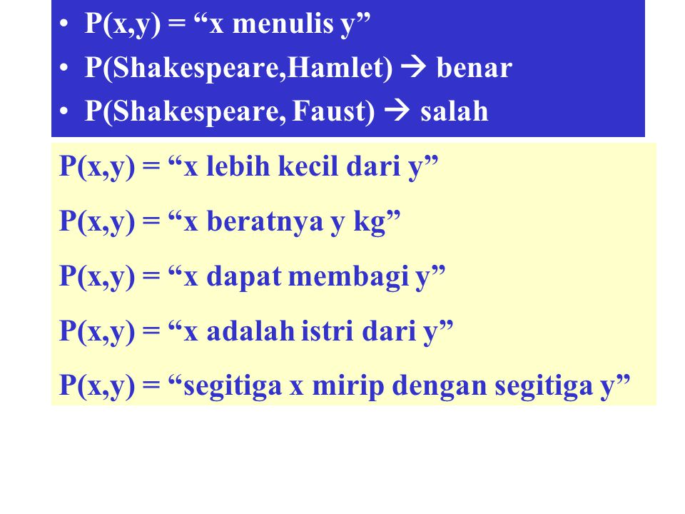 P(x,y) = x menulis y P(Shakespeare,Hamlet)  benar. P(Shakespeare, Faust)  salah. P(x,y) = x lebih kecil dari y