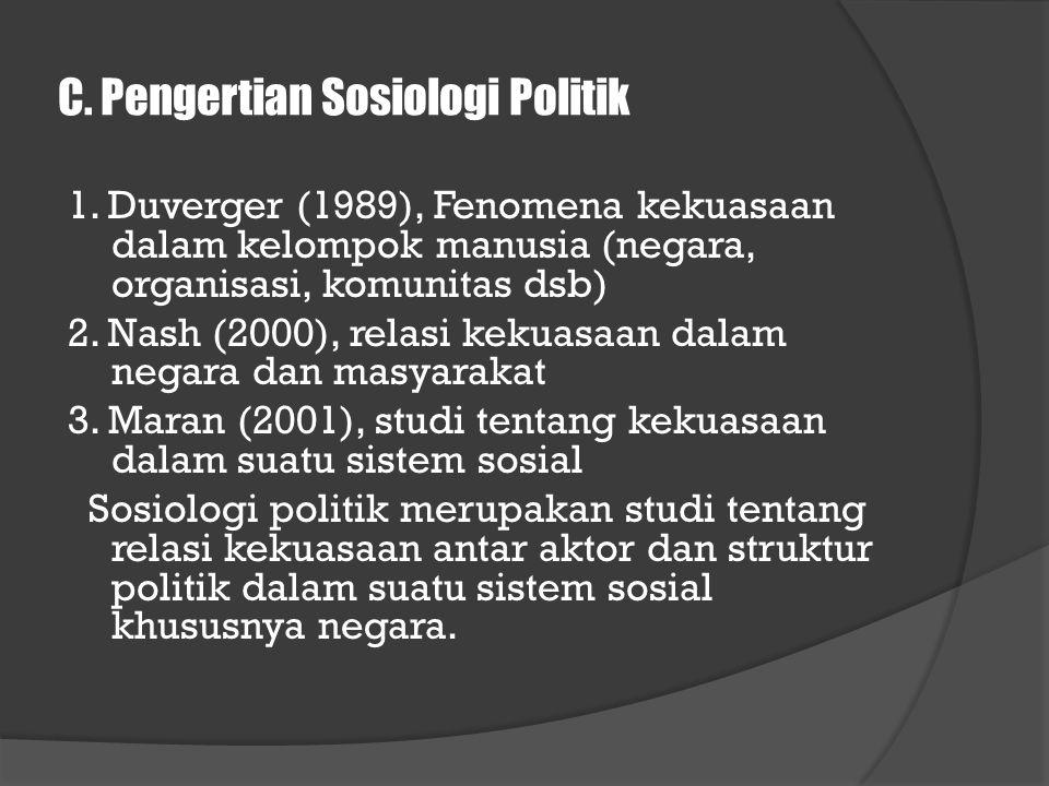 C. Pengertian Sosiologi Politik