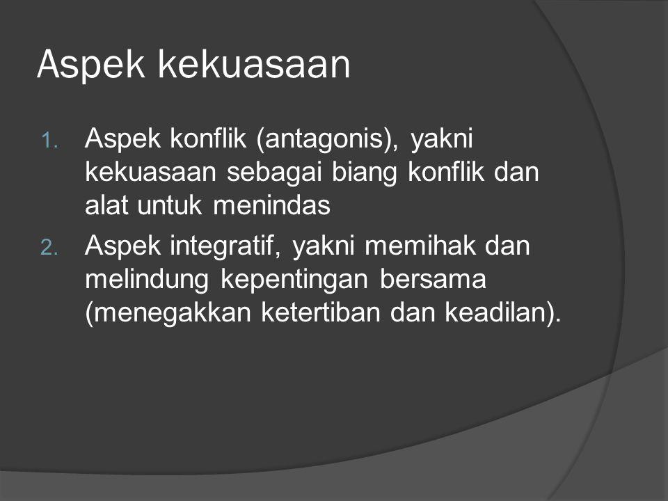 Aspek kekuasaan Aspek konflik (antagonis), yakni kekuasaan sebagai biang konflik dan alat untuk menindas.
