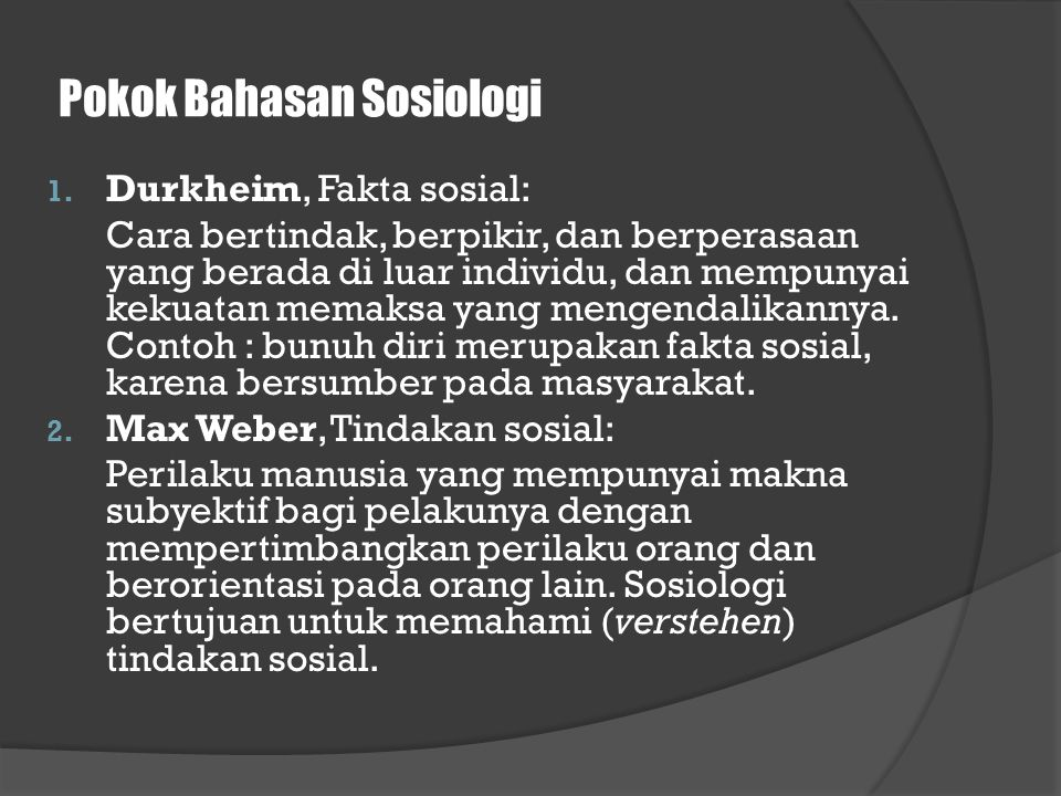 Pokok Bahasan Sosiologi