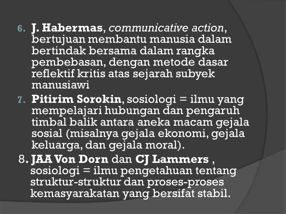J. Habermas, communicative action, bertujuan membantu manusia dalam bertindak bersama dalam rangka pembebasan, dengan metode dasar reflektif kritis atas sejarah subyek manusiawi