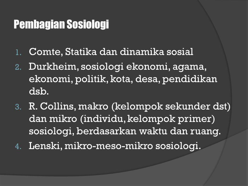 Pembagian Sosiologi Comte, Statika dan dinamika sosial
