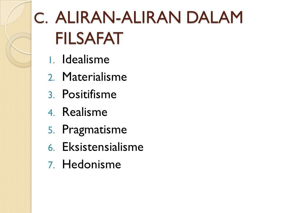 C. ALIRAN-ALIRAN DALAM FILSAFAT