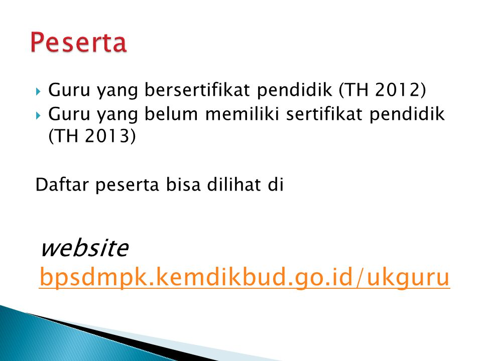 Peserta website bpsdmpk.kemdikbud.go.id/ukguru
