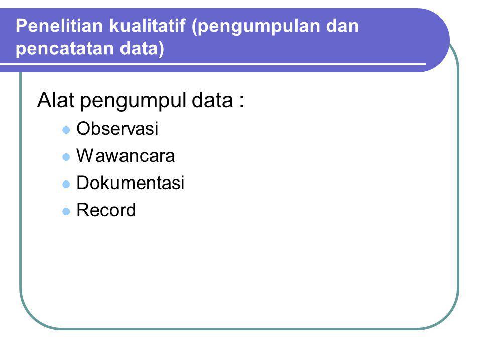 Penelitian kualitatif (pengumpulan dan pencatatan data)