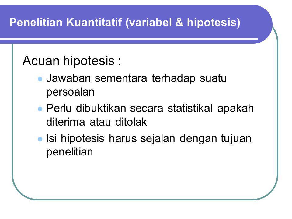 Penelitian Kuantitatif (variabel & hipotesis)