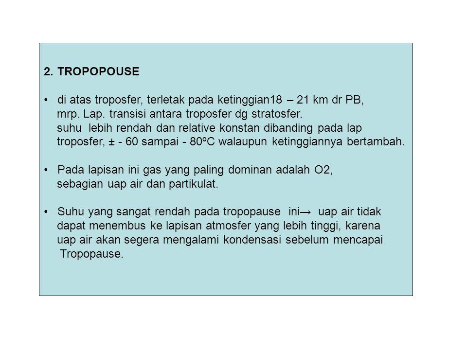2. TROPOPOUSE di atas troposfer, terletak pada ketinggian18 – 21 km dr PB, mrp. Lap. transisi antara troposfer dg stratosfer.