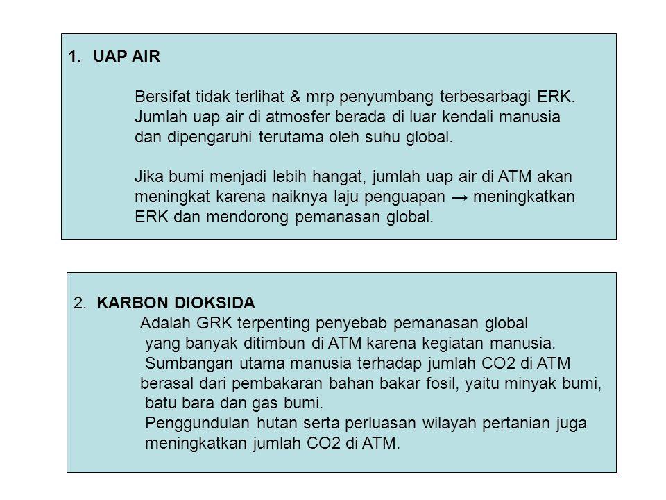 UAP AIR Bersifat tidak terlihat & mrp penyumbang terbesarbagi ERK. Jumlah uap air di atmosfer berada di luar kendali manusia.