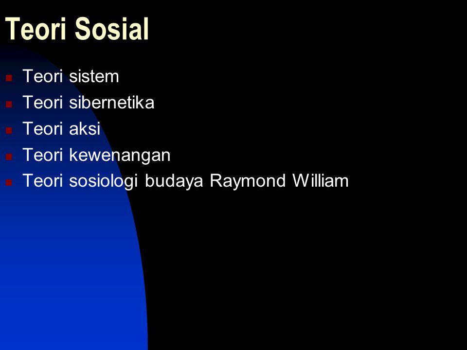 Teori Sosial Teori sistem Teori sibernetika Teori aksi