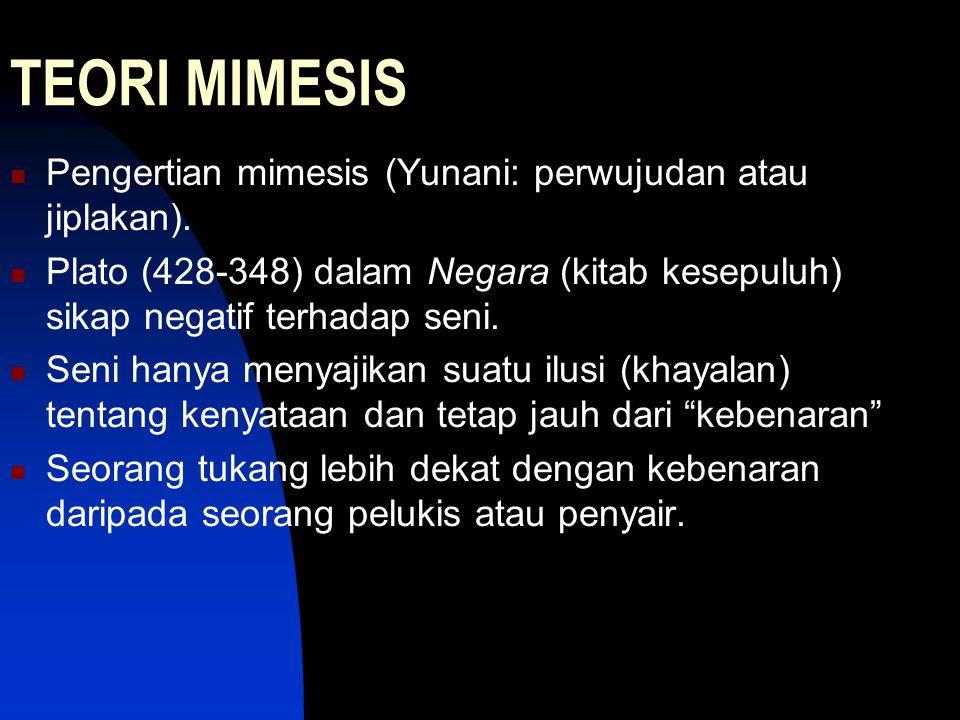 TEORI MIMESIS Pengertian mimesis (Yunani: perwujudan atau jiplakan).