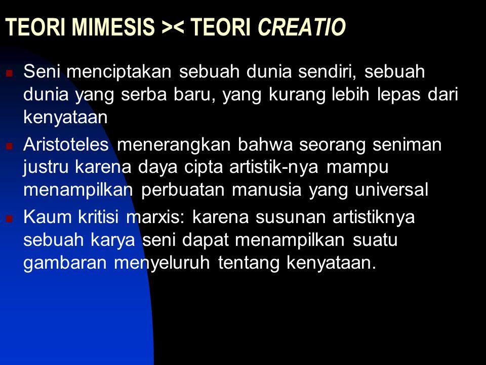 TEORI MIMESIS >< TEORI CREATIO