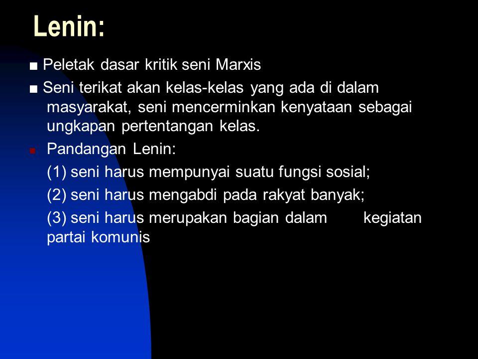 Lenin: ■ Peletak dasar kritik seni Marxis